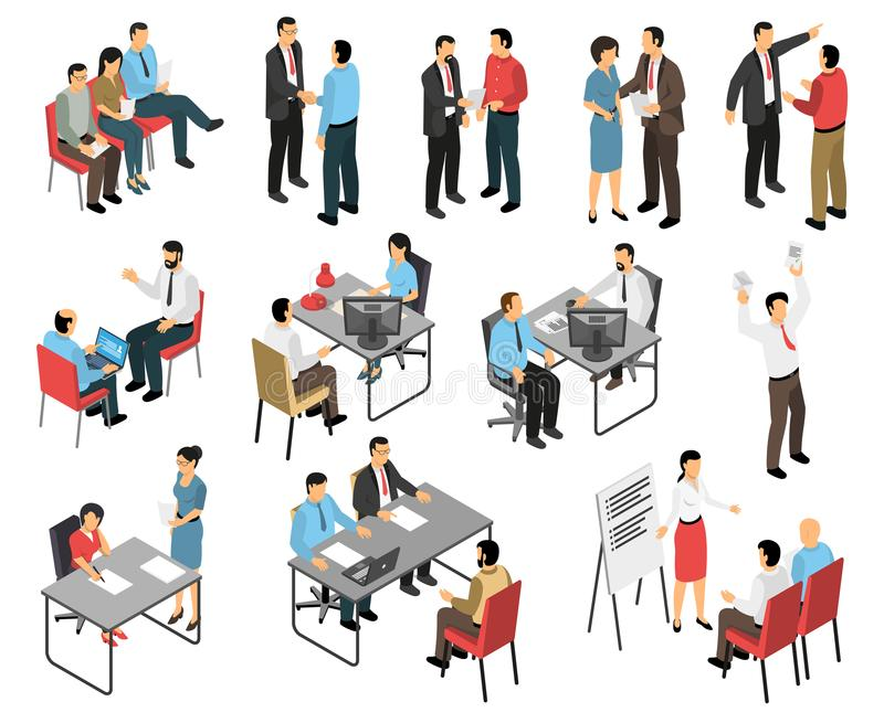 Job Interview Respondents Set vektor illustrationer