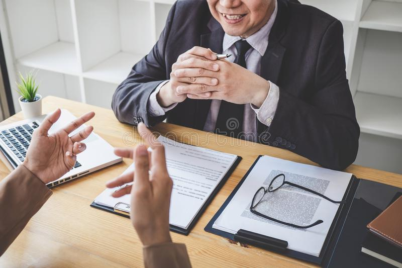 Job interview, Senior selection committee manager asking questions to applicant about work history, colloquy dream,  Skill,. Expertise, experience and royalty free stock photography