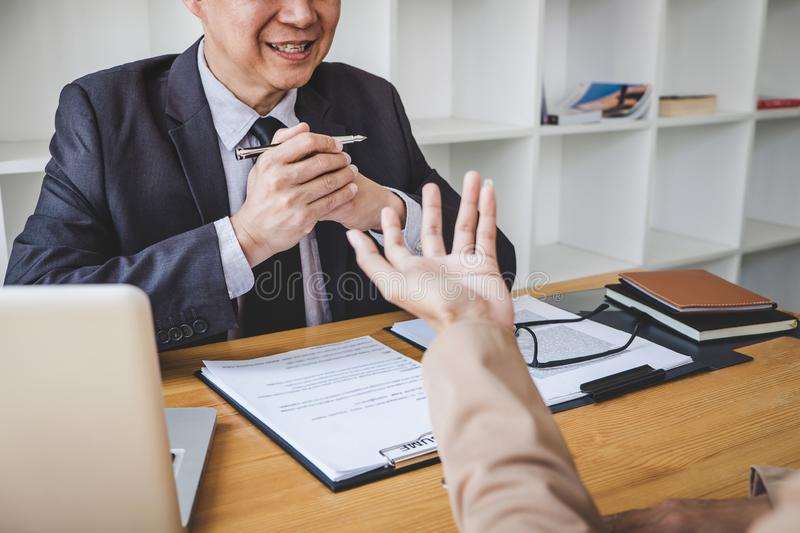 Job interview, Senior selection committee manager asking questions to applicant about work history, colloquy dream,  Skill,. Expertise, experience and stock images