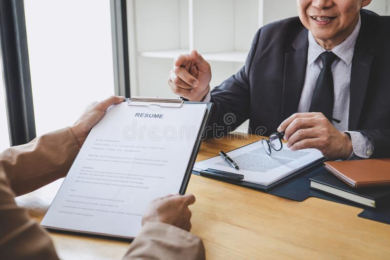 Job interview, Senior selection committee manager asking questions to applicant about work history, colloquy dream,  Skill,. Expertise, experience and royalty free stock images