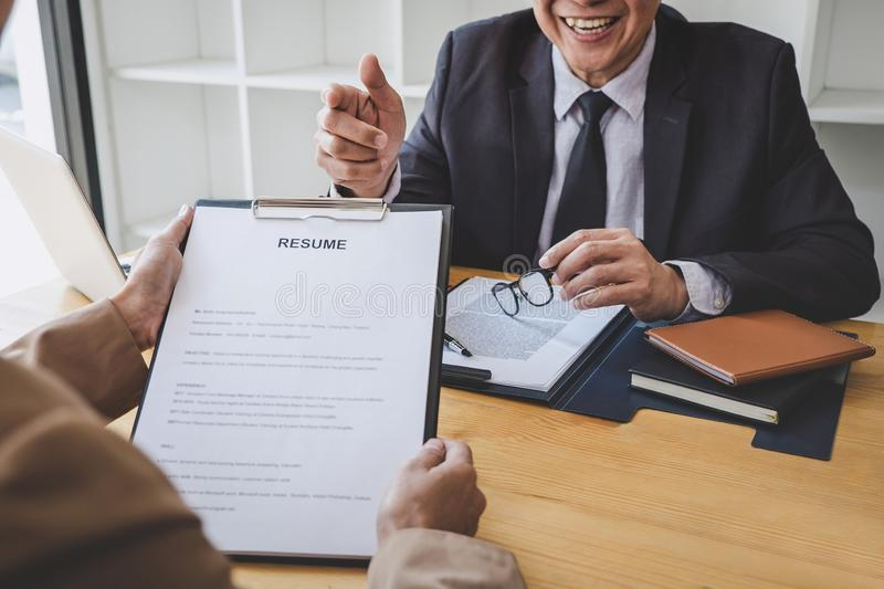 Job interview, Senior selection committee manager asking questions to applicant about work history, colloquy dream,  Skill,. Expertise, experience and stock photo
