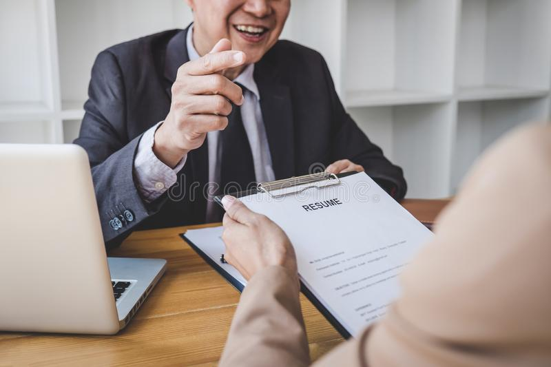 Job interview, Senior selection committee manager asking questions to applicant about work history, colloquy dream,  Skill,. Expertise, experience and royalty free stock photo