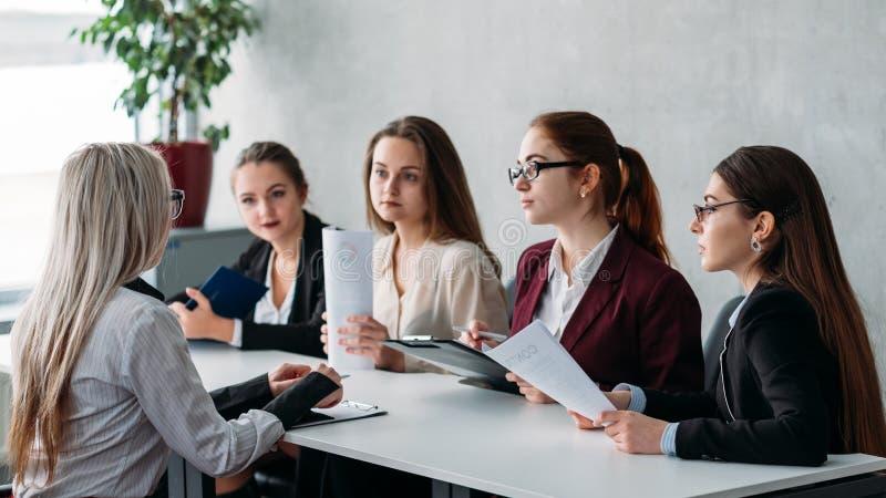 Job interview recruiter team members hiring staff stock images