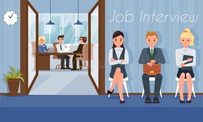 Job Interview und Rekrutierung Auch im corel abgehobenen Betrag stock abbildung