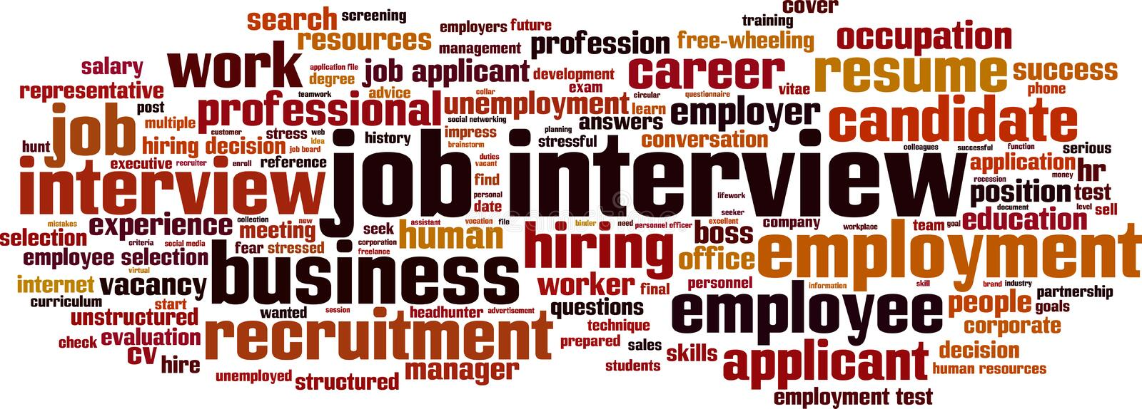 Job interview word cloud royalty free illustration