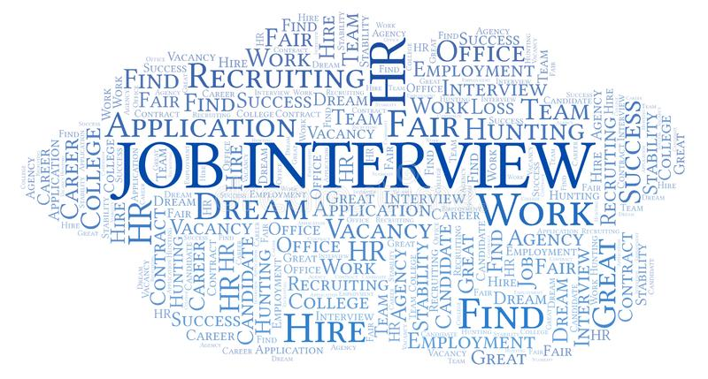 Job Interview word cloud. Wordcloud made with text only stock illustration
