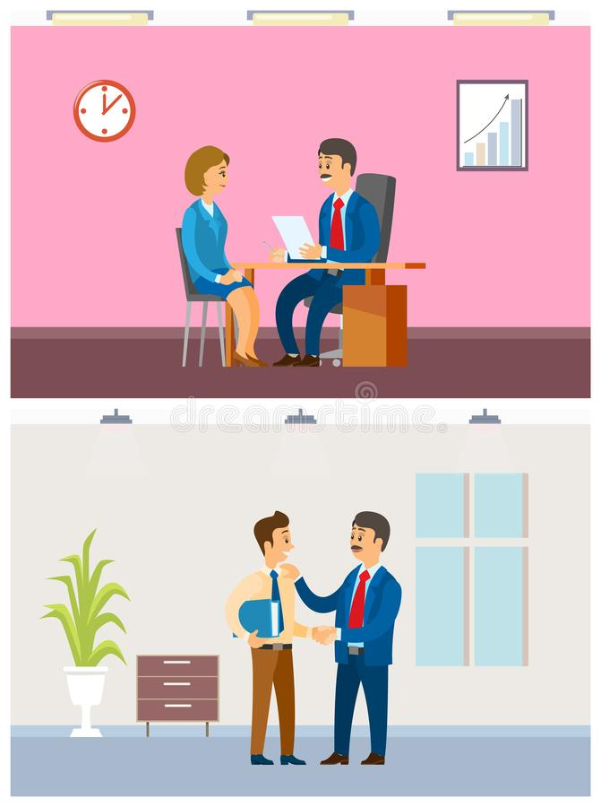 Job Interview and Working Task, Office Routine. Boss and employees, hiring worker and paperwork arrangement, company interior vector illustrations stock illustration