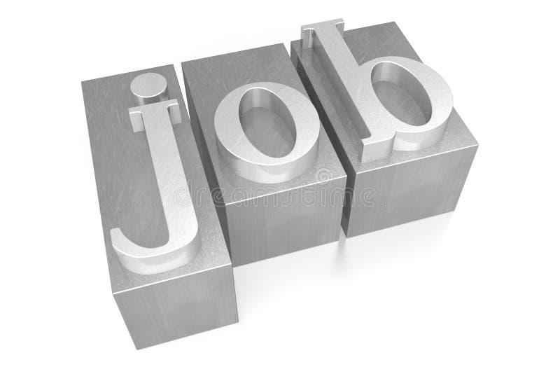 Job - silver letterpress - 3D illustration royalty free stock image
