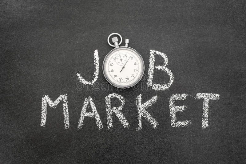 Job market watch. Job market phrase handwritten on chalkboard with vintage precise stopwatch used instead of O royalty free stock image