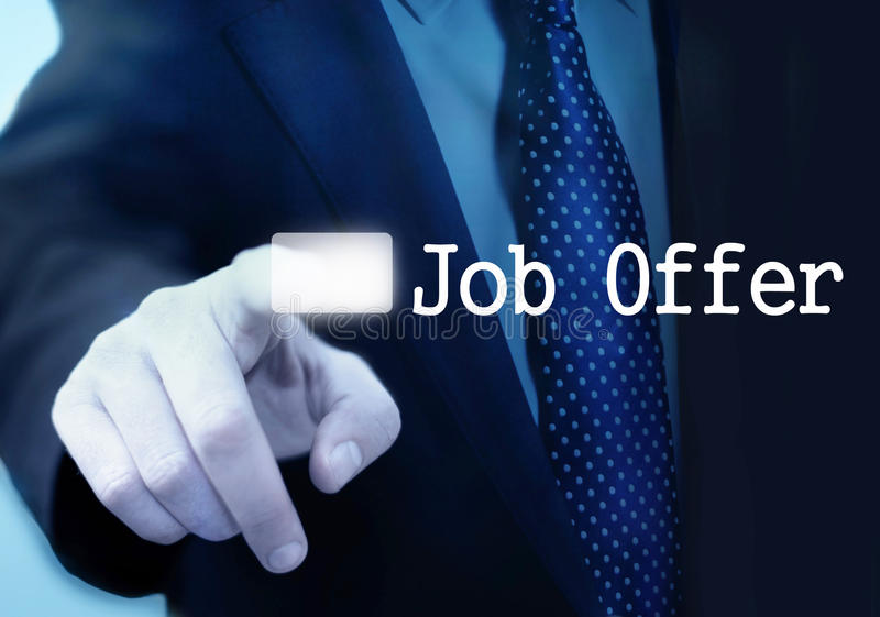 Job Offer. Job Search concept- man touching screen with Job Offer text stock photo