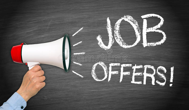 Job Offers - recruitment and human resoures. Job Offers - female hand with megaphone and text - recruitment and human resources royalty free stock photo