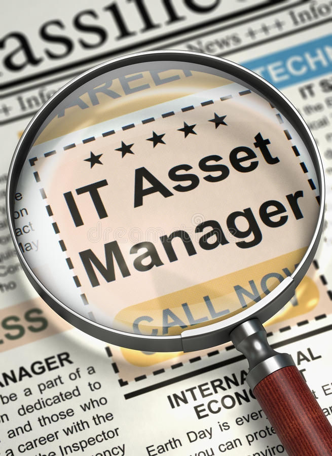 Job Opening IT Asset Manager. 3D. IT Asset Manager - Close View Of A Classifieds Through Magnifying Glass. IT Asset Manager - Searching Job in Newspaper royalty free illustration