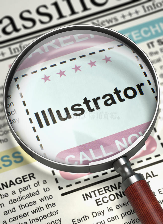 Job Opening Illustrator 3d ilustração royalty free
