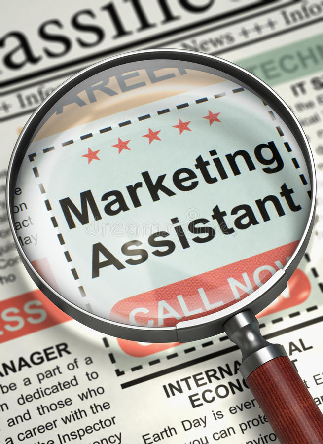 download job opening marketing assistant 3d stock image image of role function