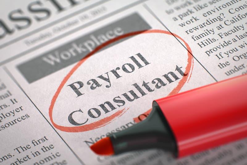 Job Opening Payroll Consultant 3d rendent illustration stock