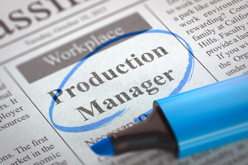 Job Opening Production Manager. 3D. royalty free stock image