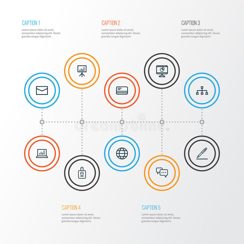 Job Outline Icons Set Collection de statistiques, de signature globale, de contrat et d'autres éléments Inclut également des symb illustration stock