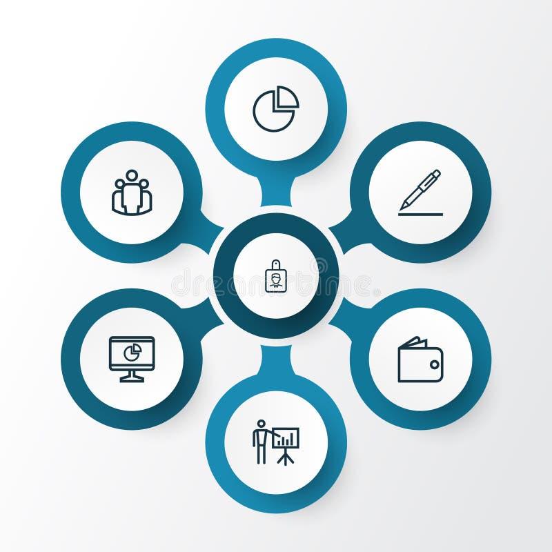Job Outline Icons Set Raccolta di firma del contratto, della presentazione di affari, del grafico di cerchio e di altri elementi  illustrazione vettoriale