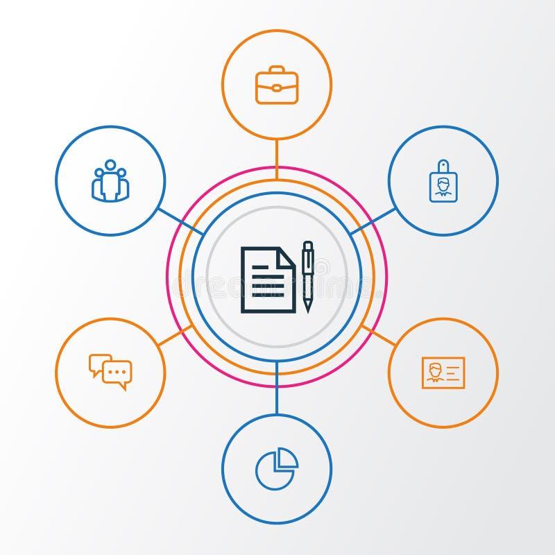Job Outline Icons Set Sammlung Vereinbarung, Team, Gespräch und andere Elemente Schließt auch Symbole wie ein lizenzfreie abbildung