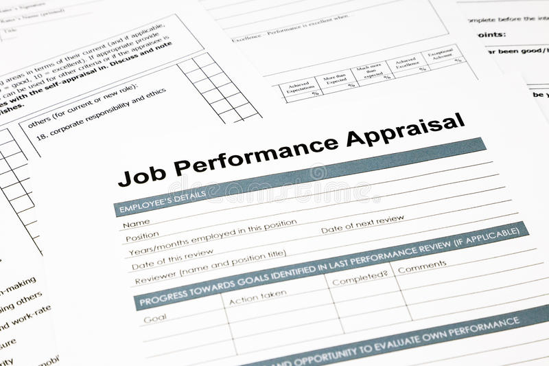 Job Performance Appraisal Form For Business Stock Image  Image Of