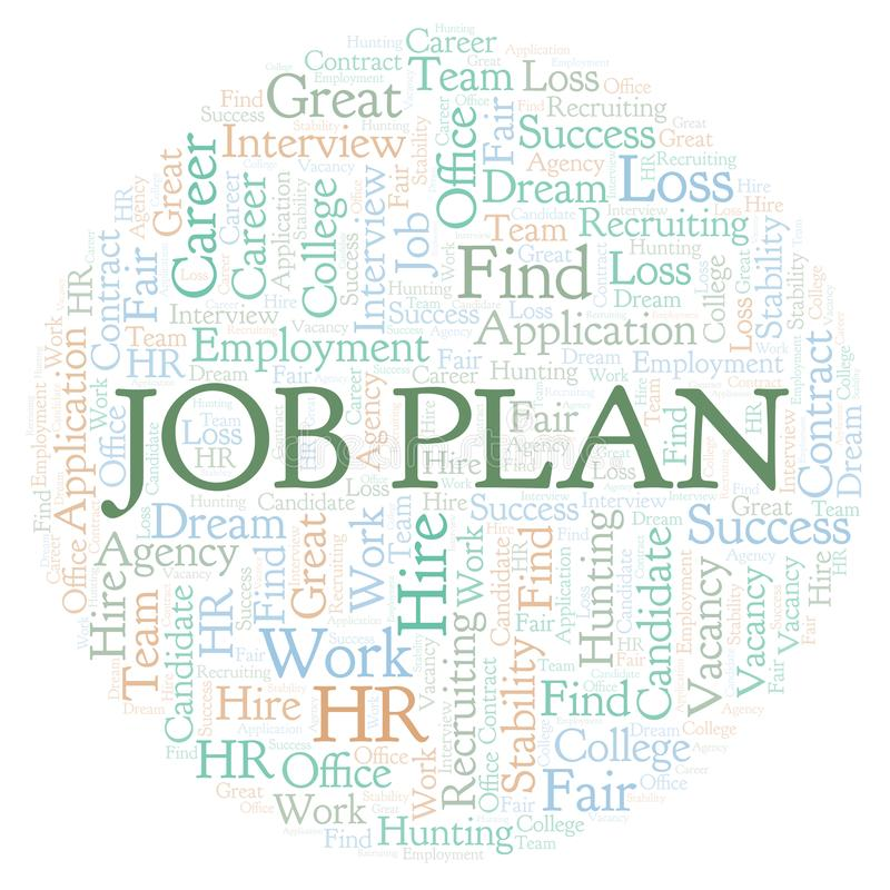 Job Plan word cloud. stock illustration