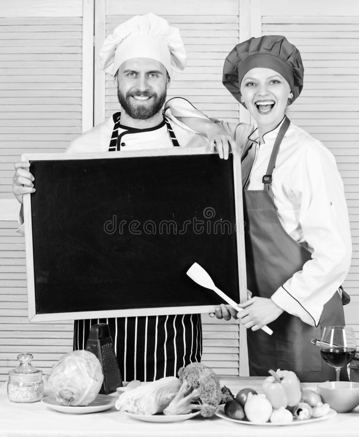 Job position. Cooking delicious meal recipe. Cooking menu for today. List ingredients cooking dish. Family restaurant stock photo