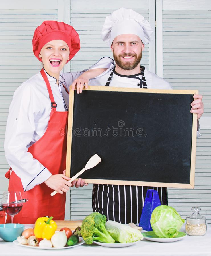 Job position. Cooking delicious meal recipe. Cooking menu for today. List ingredients cooking dish. Family restaurant royalty free stock photos