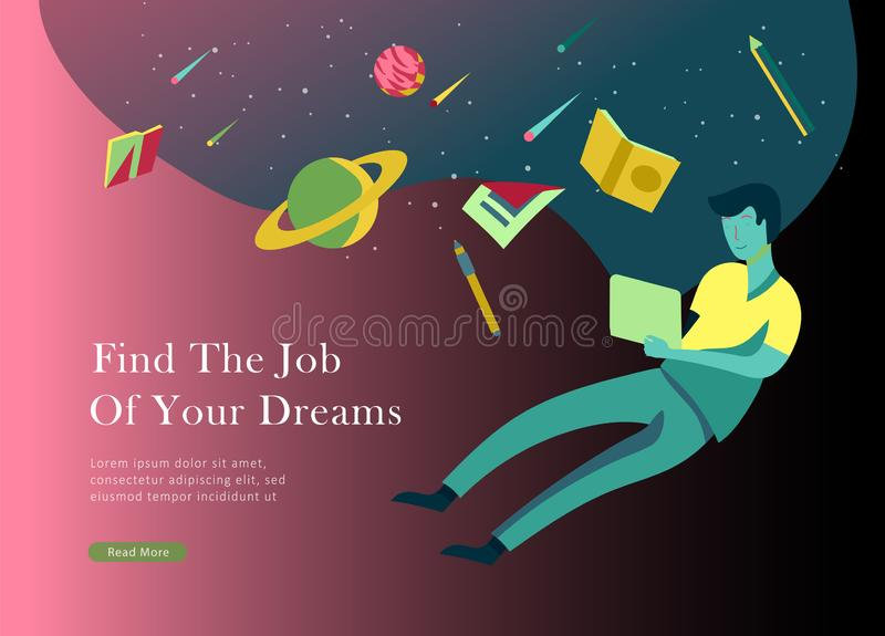 Job presentation banner page. Inspired People flying, choose career or interview a candidate, agency human resources. Creative find experience. Character find stock illustration