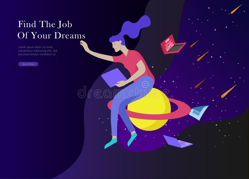 Job presentation banner page. Inspired People flying, choose career or interview a candidate, agency human resources. Creative find experience. Character find vector illustration