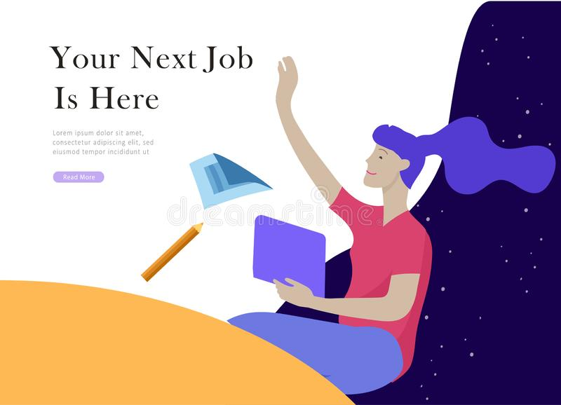 Job presentation banner page. Inspired People flying, choose career or interview a candidate, agency human resources. Creative find experience. Character find royalty free illustration