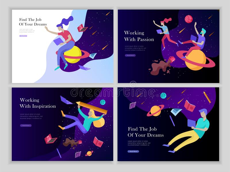 Job presentation banner page set. Inspired People flying, choose career or interview a candidate, agency human resources. Creative find experience. Characters vector illustration