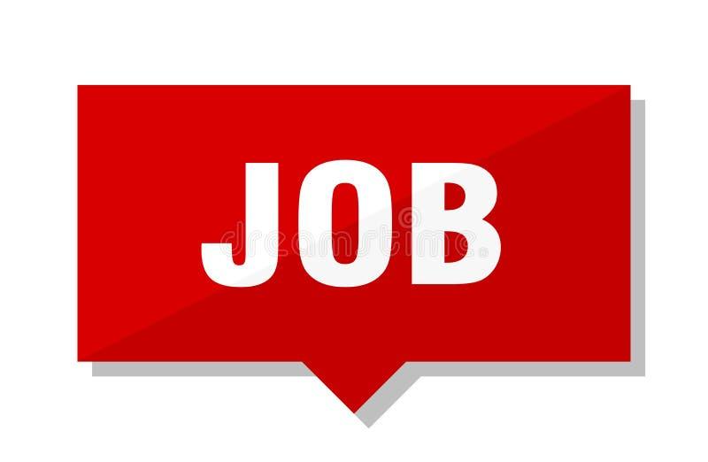 Job price tag. Job red square price tag stock illustration