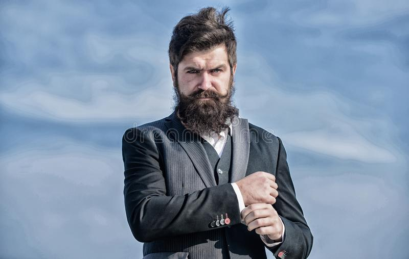 Job promotion. Businessman against sky. Future success. formal fashion. brutal caucasian hipster with moustache. Mature royalty free stock photos