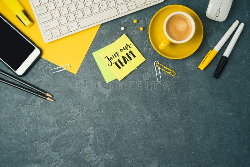 Job recruit concept with office desk. Business background. Top view from above royalty free stock photos