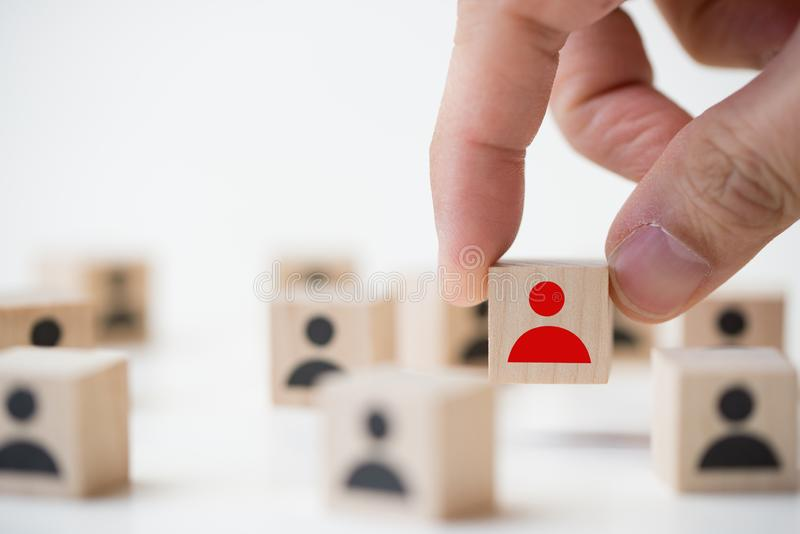 Job recruitment concept using icon people wood cube block royalty free stock images