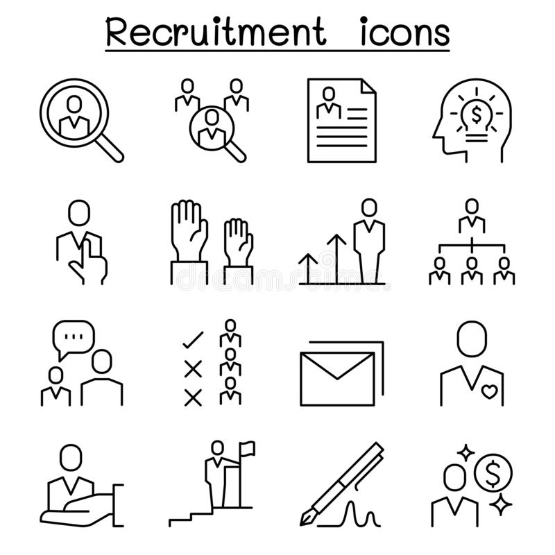 Job, Recruitment, interview, staff, employee icon set in thin line style vector illustration