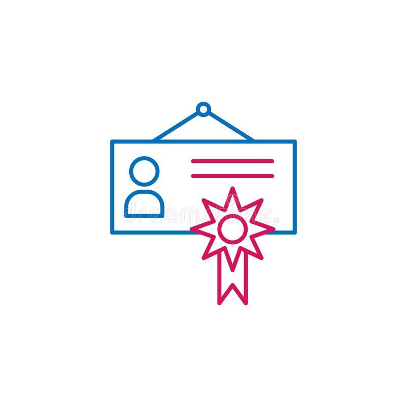 Job resume, certificate 2 colored line icon. Simple colored element icon. Job resume, certificate outline symbol design icon from. Job resume set on white stock illustration