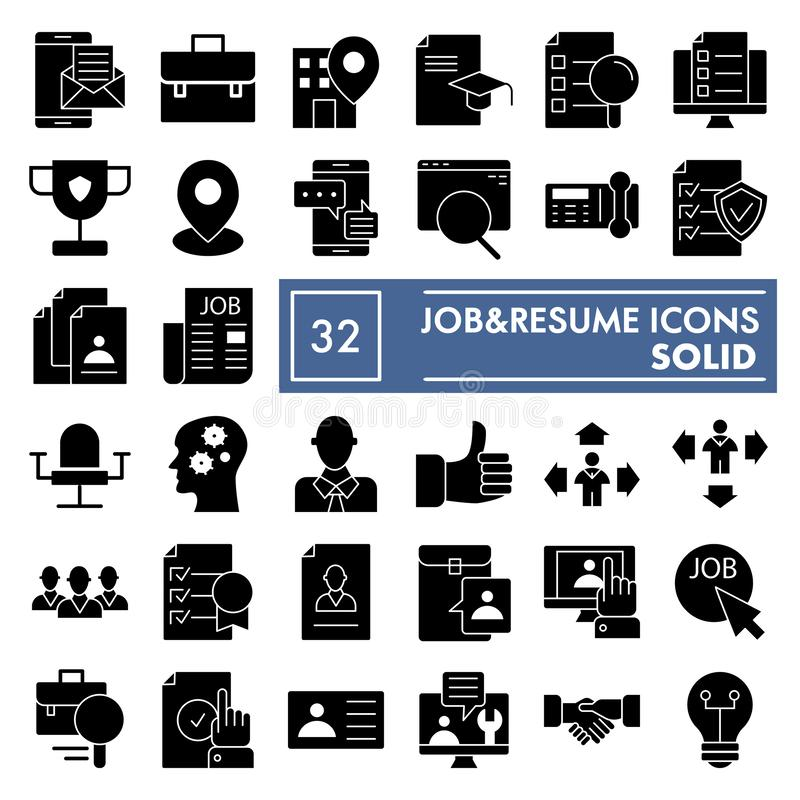 Job and resume glyph icon set, work symbols collection, vector sketches, logo illustrations, vacancy signs solid vector illustration