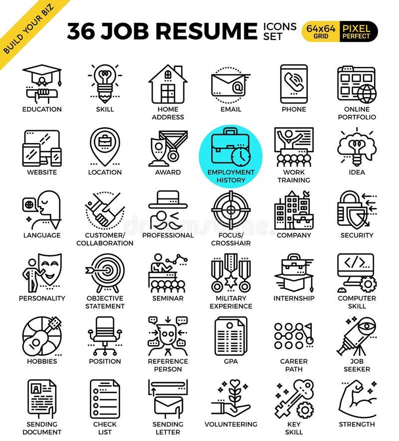 Job Resume Icons ilustración del vector