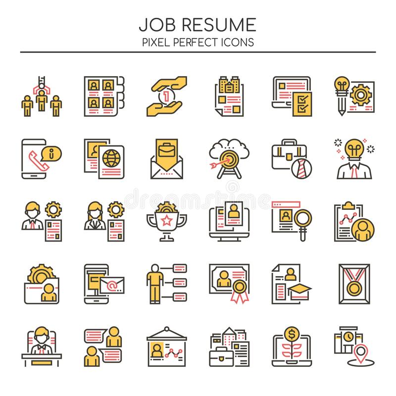 Job Resume, linha fina ilustração royalty free