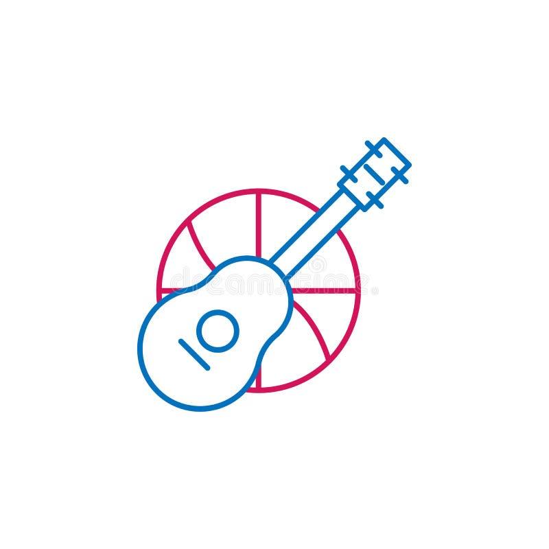 Job resume, ukelele 2 colored line icon. Simple colored element icon. Job resume, ukelele outline symbol design icon from job. Resume set on white background stock illustration