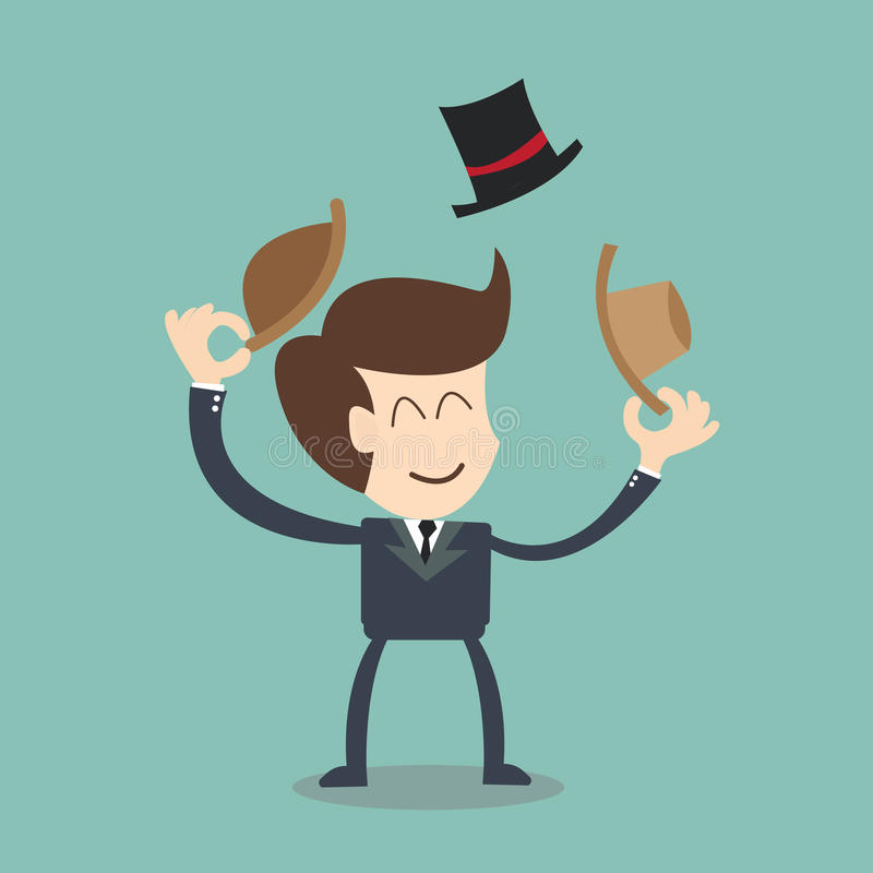 Download Job Rotation, Businessman Changes Hats Stock Illustration - Illustration of choose, innovation: 46456490