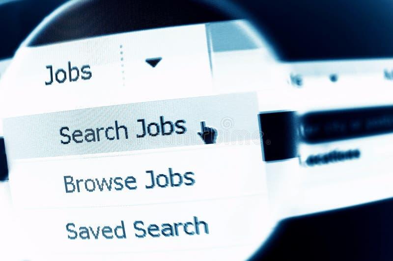 Job search. Internet job search menu under magnifier