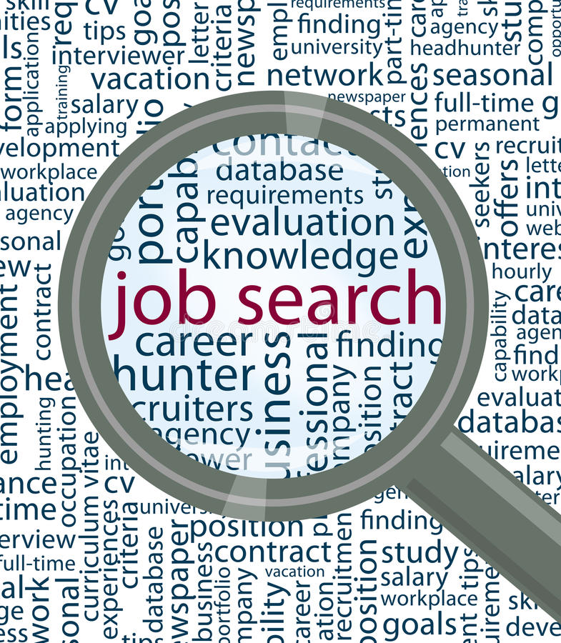Job search. Word cloud with magnifier