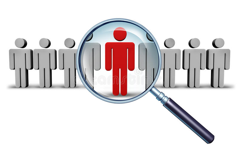 Job Search. And career choice employment concept with human icons and a red businessman character in a magnifying glass as a symbol of recruitment and