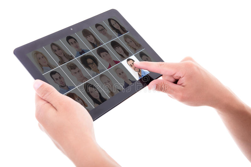 job search concept - businessman hand pressing buttons with people portraits on tablet pc screen isolated on white royalty free stock photos