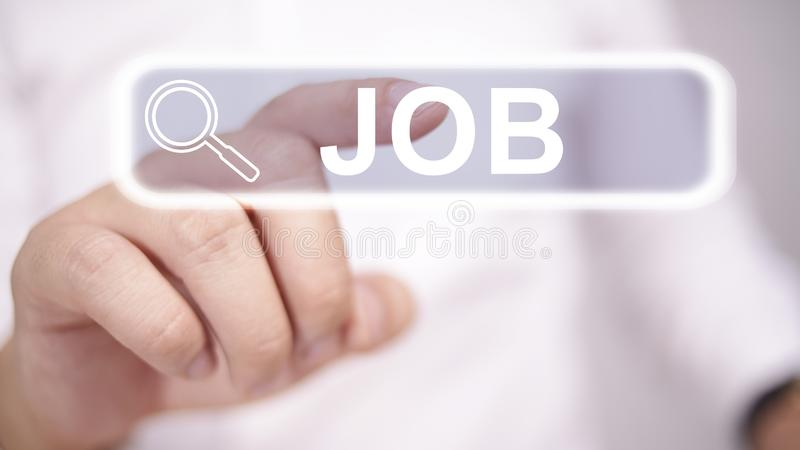 Job Search Concept. Man clicking virtual job search button, blurred selective focus image, recruitment, employment, recruiting, work, profession, occupation stock image