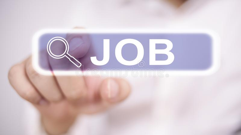 Job Search Concept. Man clicking virtual job search button, blurred selective focus image, recruitment, employment, recruiting, work, profession, occupation royalty free stock photos