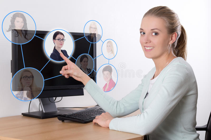 Job search concept - woman pressing an imaginary buttons with pe stock images