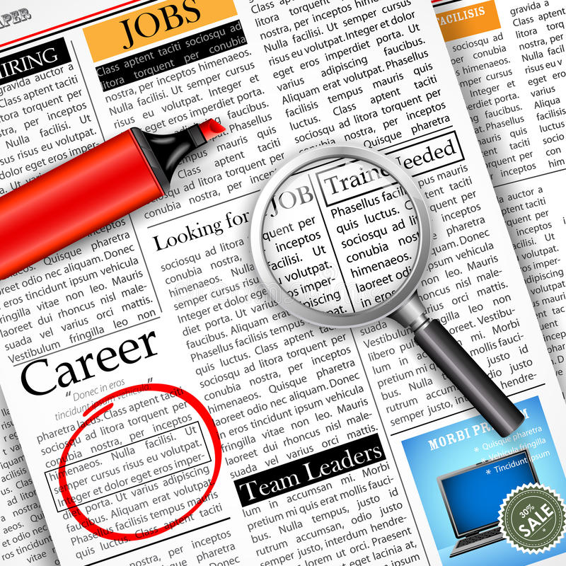 Job Search in der Zeitung stock abbildung